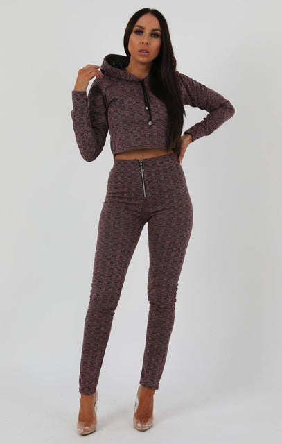 Rose Black Crop Zip Loungewear Set - Sonia