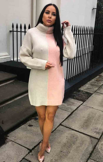 Cream Pink Block High Neck Knit Jumper Dress - Faye