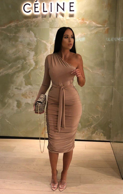 Beige One Shoulder Ruched Slinky Midi Dress - Savannah