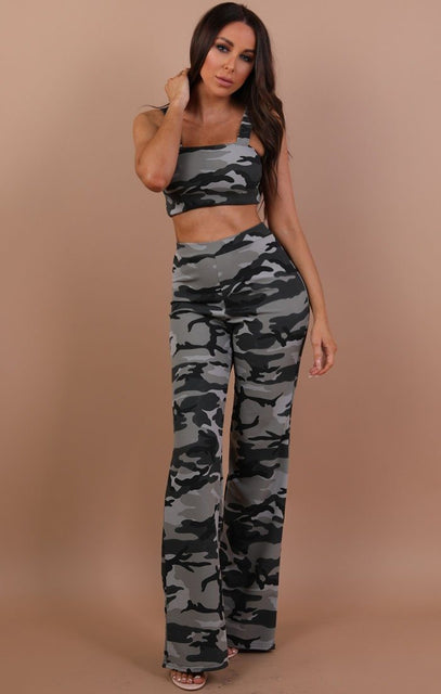 Grey Camo Crop Top And Trousers Co-ord Set - Faith