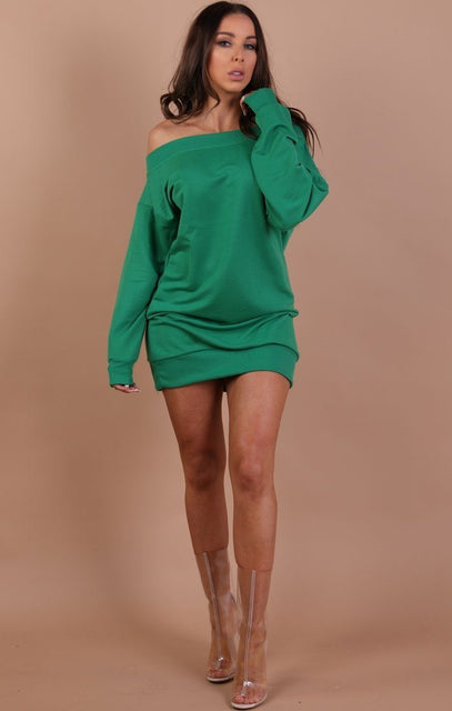 Green Off The Shoulder Jumper Dress - Hollie