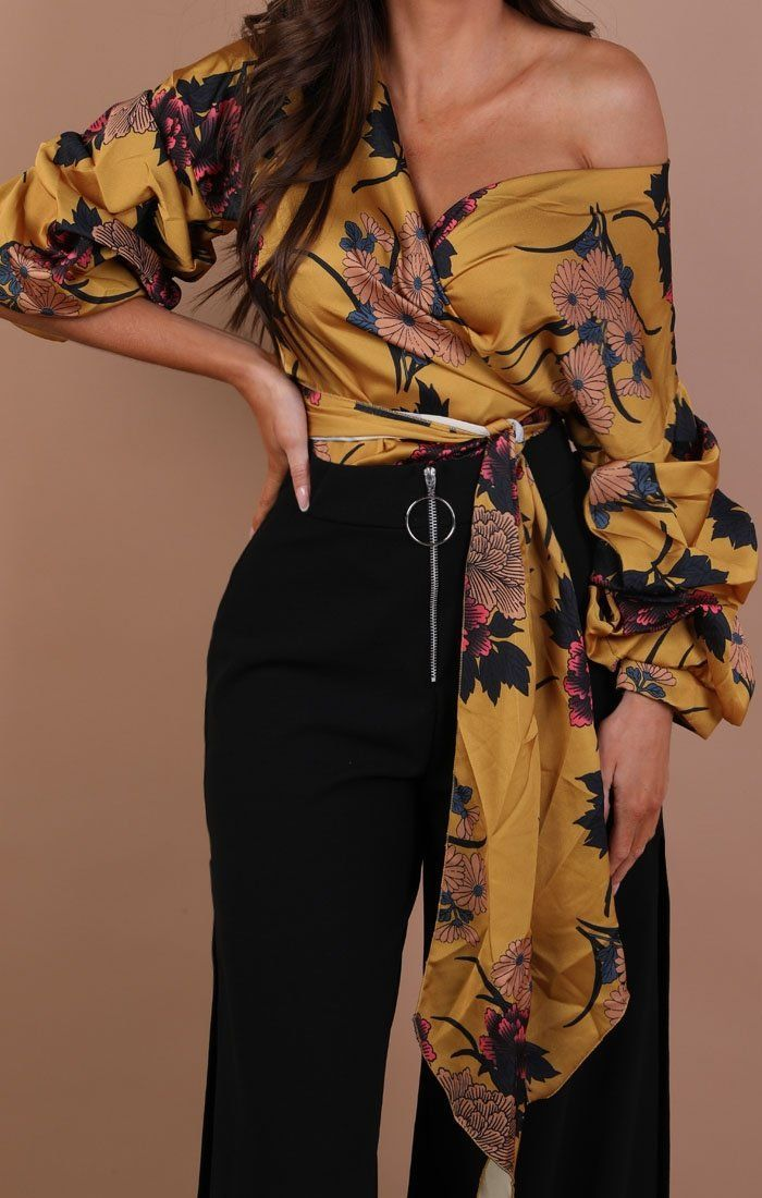 Mustard Floral Satin Ruched Sleeves Wrap Top – Kelly