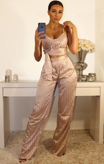 Metallic Rose Pinstripe High Waisted Trousers