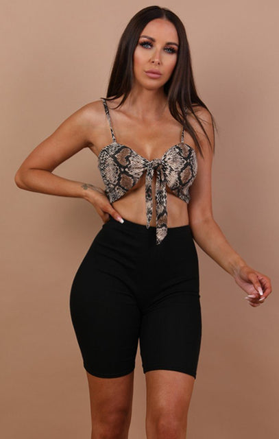 Animal Snake Print Front Tie Crop Top - Miya