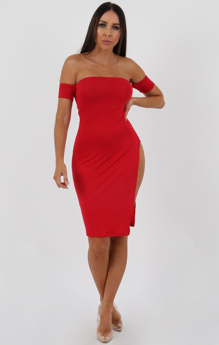 Red Cuff Detail Split Side Midi Dress - Jennifer