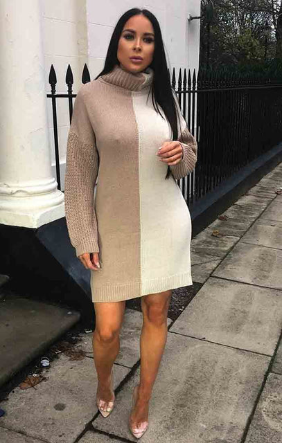 Cream Brown Block High Neck Knit Jumper Dress - Faye