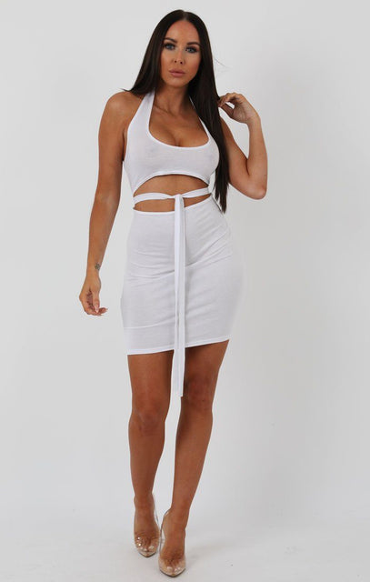White Halterneck Cut Out Tie Detail Bodycon Dress - Louisa