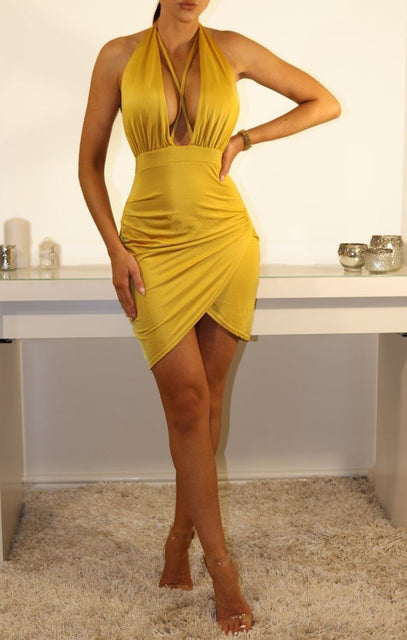 Mustard Slinky Plunge Halterneck Mini Dress