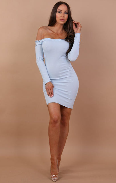 Sky Blue Bardot Frill Midi Dress - Fiona