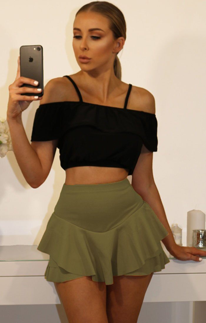 Khaki Layered Frill Mini High Waist Skirt Shorts