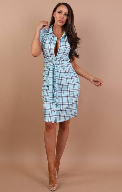 Blue Check Print Belted Shirt Dress - Saphire