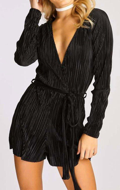 Black Pleated Satin Wrap Playsuit