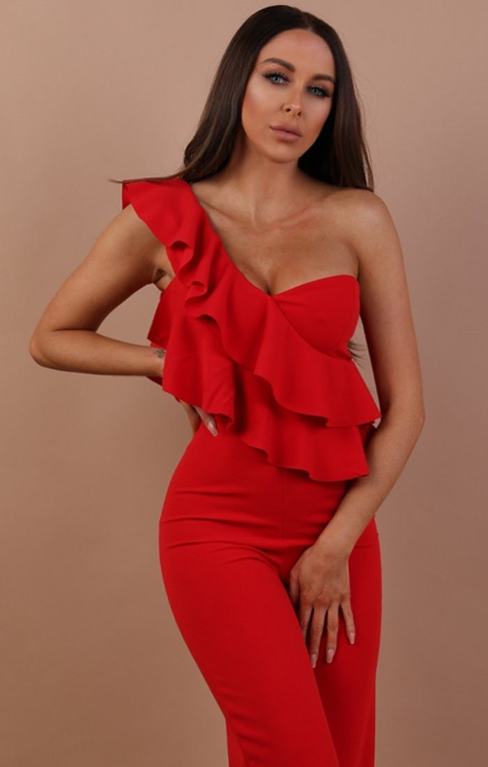 Red One Shoulder Frill Jumpsuit - Becca