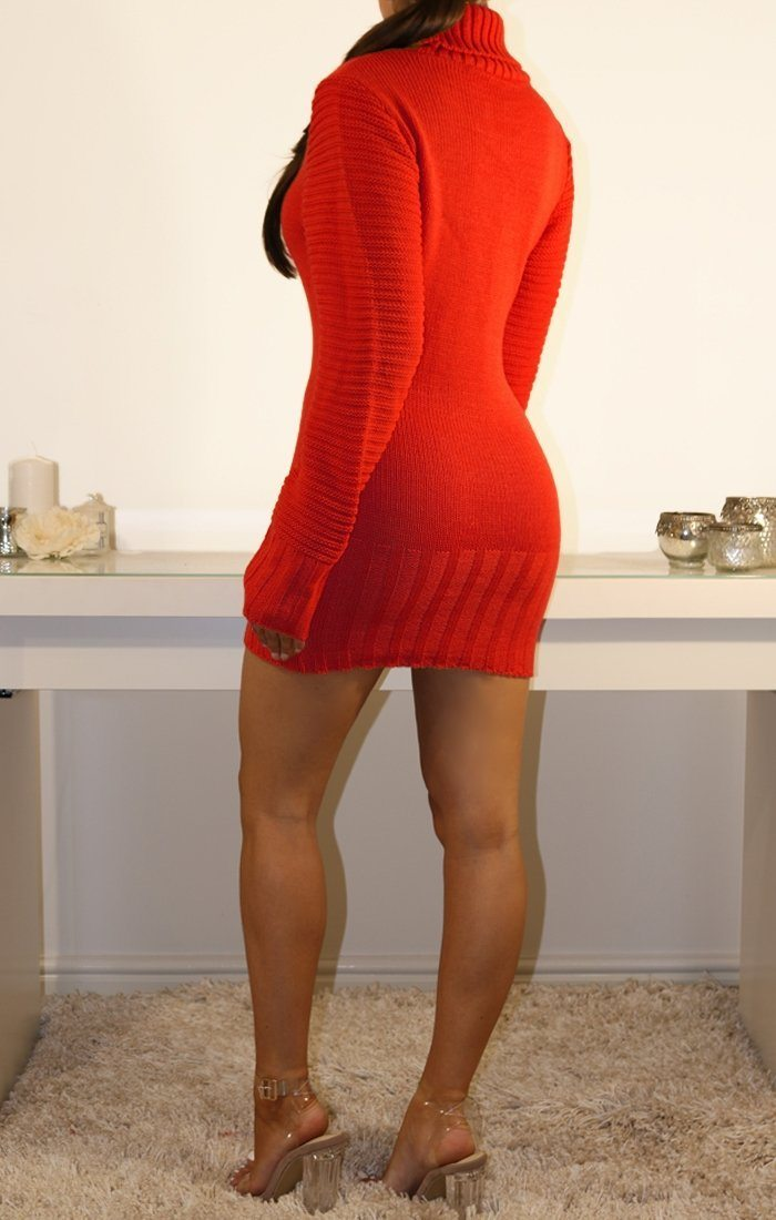 Red Roll Neck Chunky Knit Jumper Dress