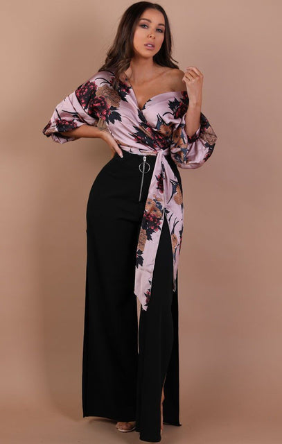 Black High Waist Side Split Wide Leg Trousers – Chelsea