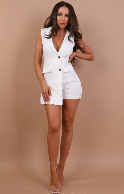 White Blazer Lace Playsuit - Mille