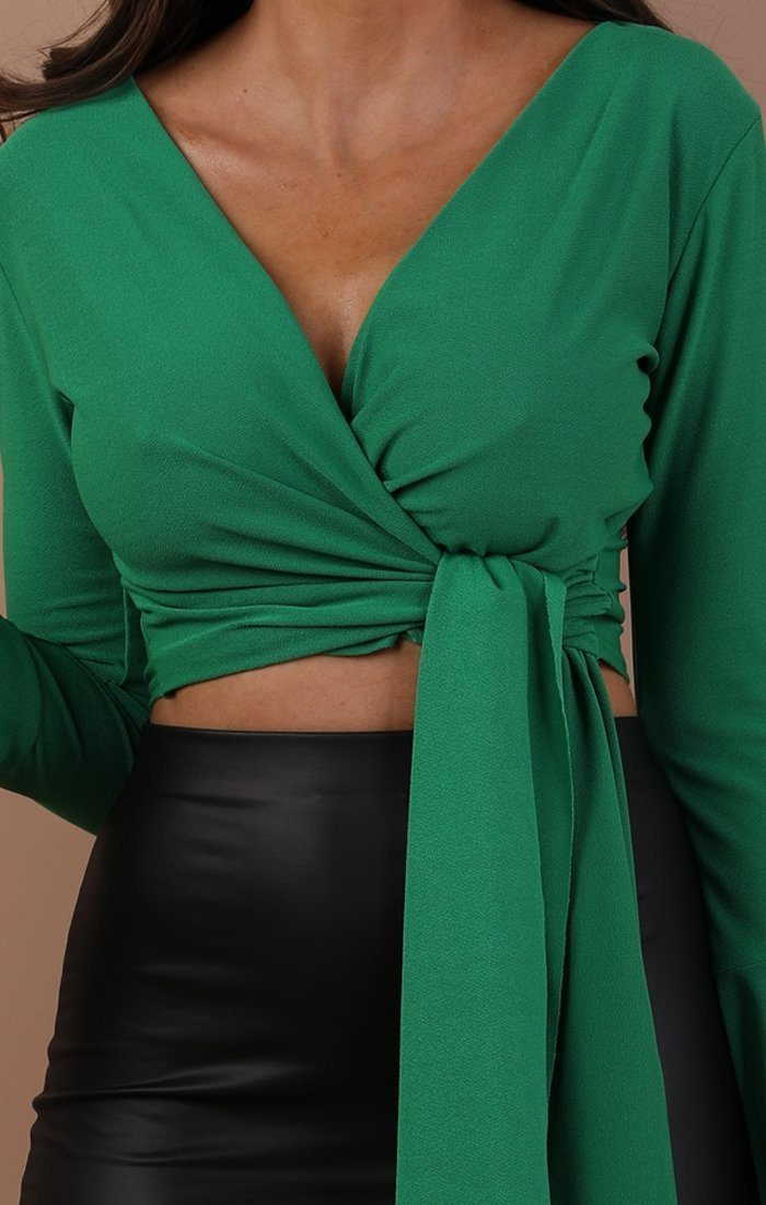 Green Bell Sleeve Wrap Crop Top – Payton