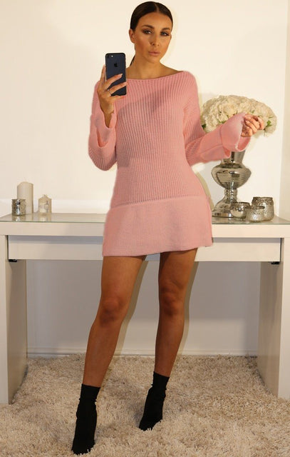 Dusky Pink Bell Sleeve Extreme Hem Knit Jumper Dress