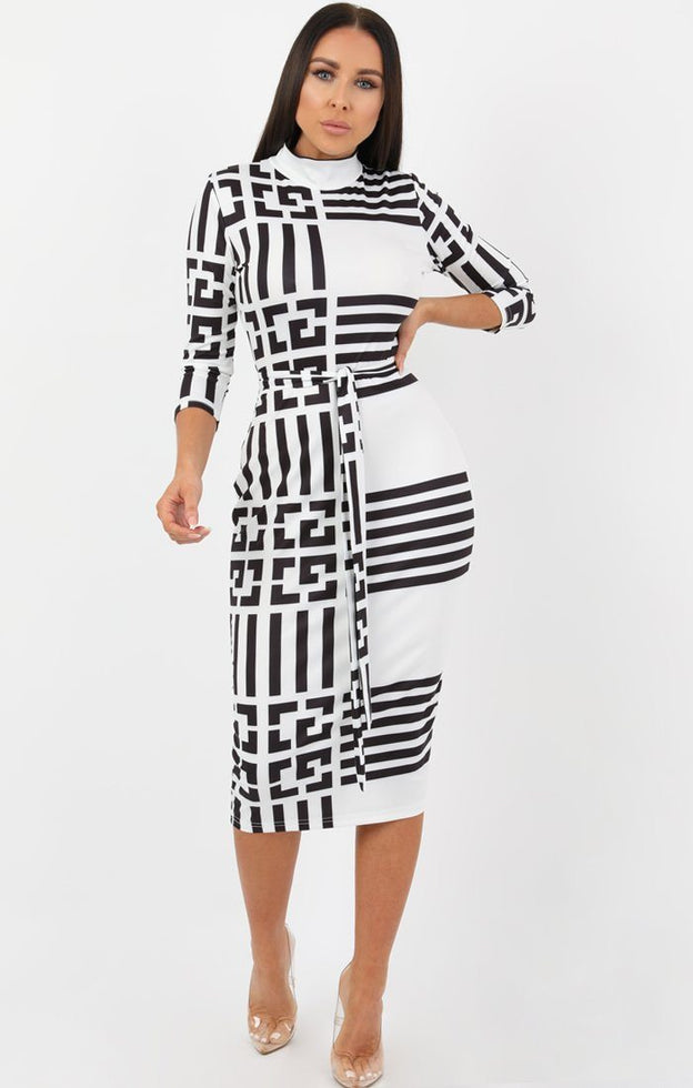 White Black Patterned High Neck Midi Dress - Isobella
