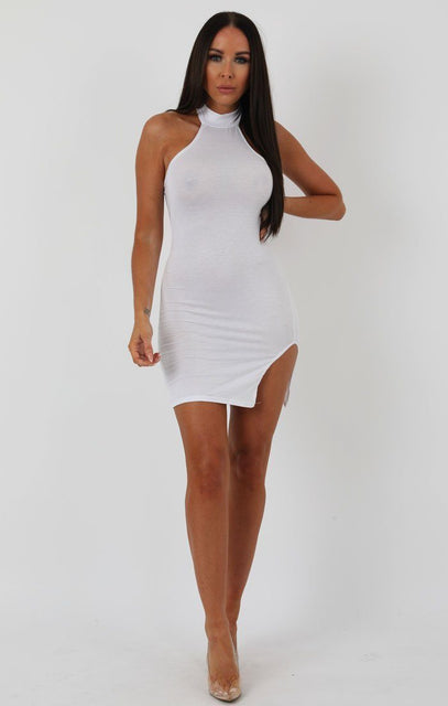 White High Neck Split Side Bodycon Dress - Dana