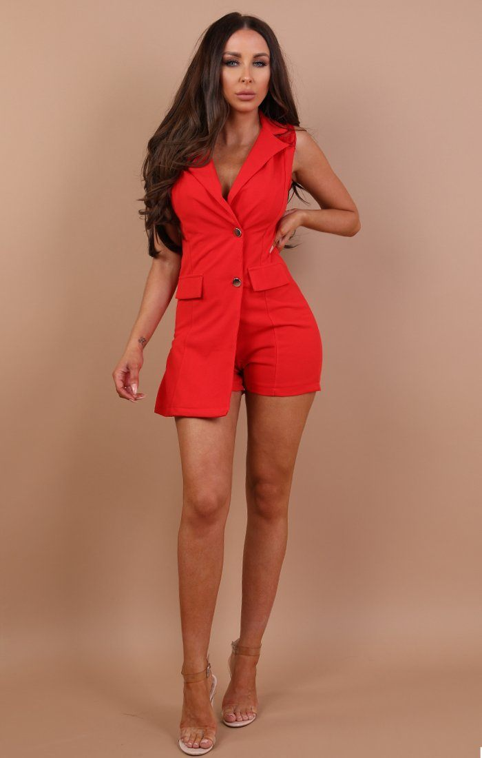 Red Blazer Lace Playsuit - Mille