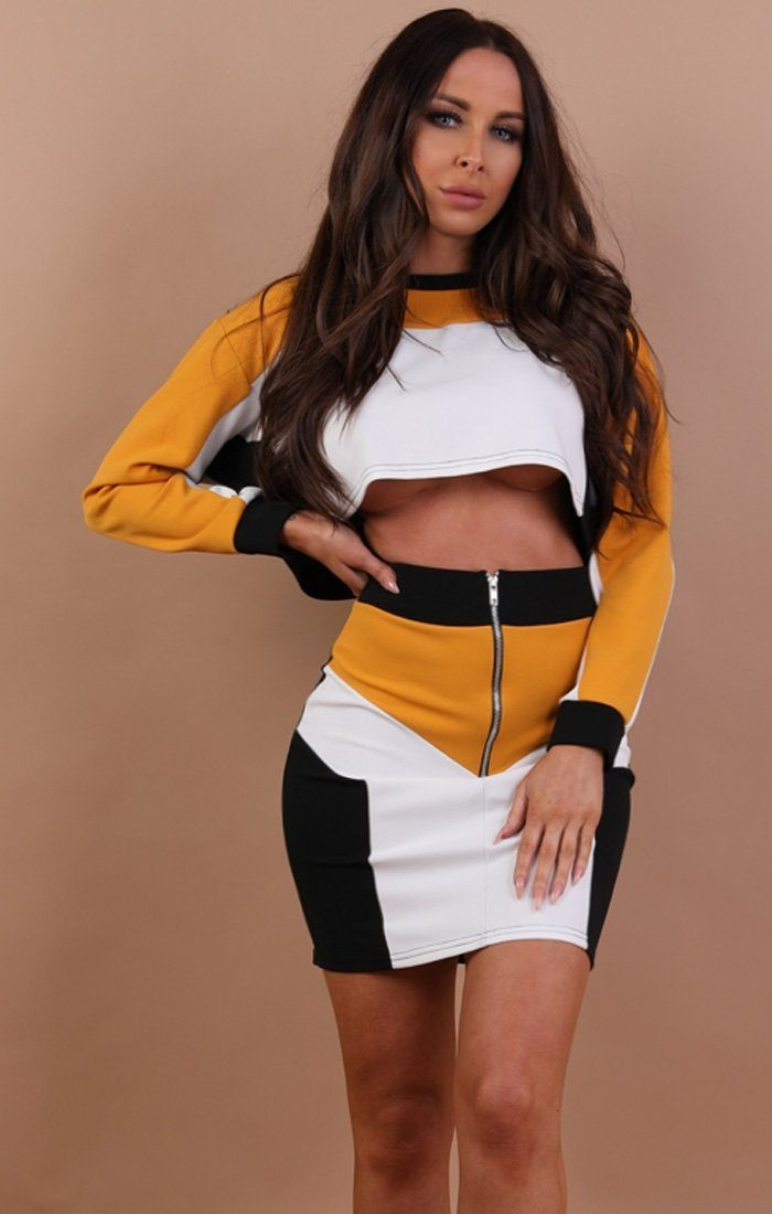Mustard Contrast Cropped High Waist Skirt Co-ord - Penelope