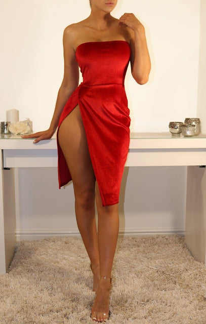 Red Velvet Bandeau Side Split Mini Dress