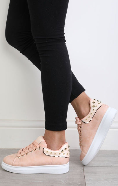 Nude Studded Back Trainers – Livvy
