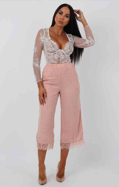 Nude Stripe Lace Detail Culotte Trousers - Aelish
