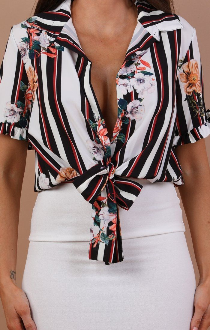 White Floral And Stripe Tie Top - Jenni