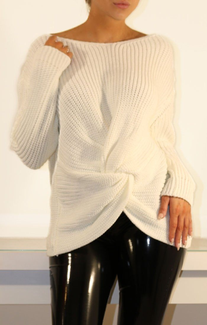 White Twisted Front Knitted Jumper