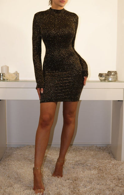 Black And Gold Glittering Bodycon Mini Dress