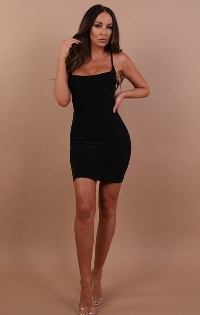 Black Slinky Lace Up Bodycon Dress - Courtney