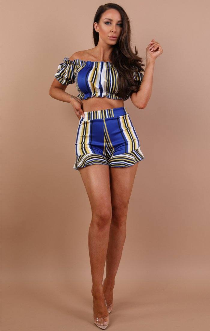 Royal Blue Striped Two Piece Co-ord Set - Stacey