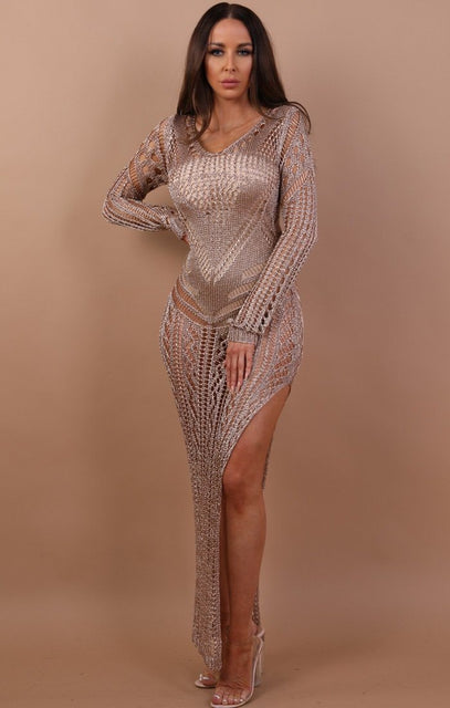 Rose Gold Metallic Leg Split Maxi Dress - Trixie