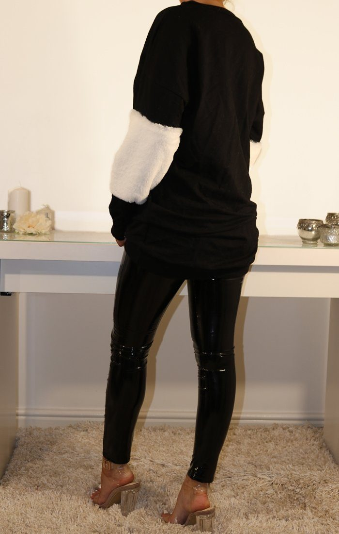 Black Oversized Faux Fur Panel Jumper Dress