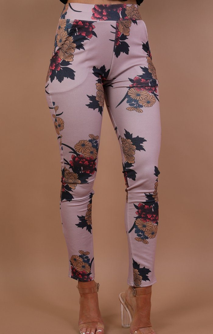 Pink Floral Slim Fit Trousers - Lorna