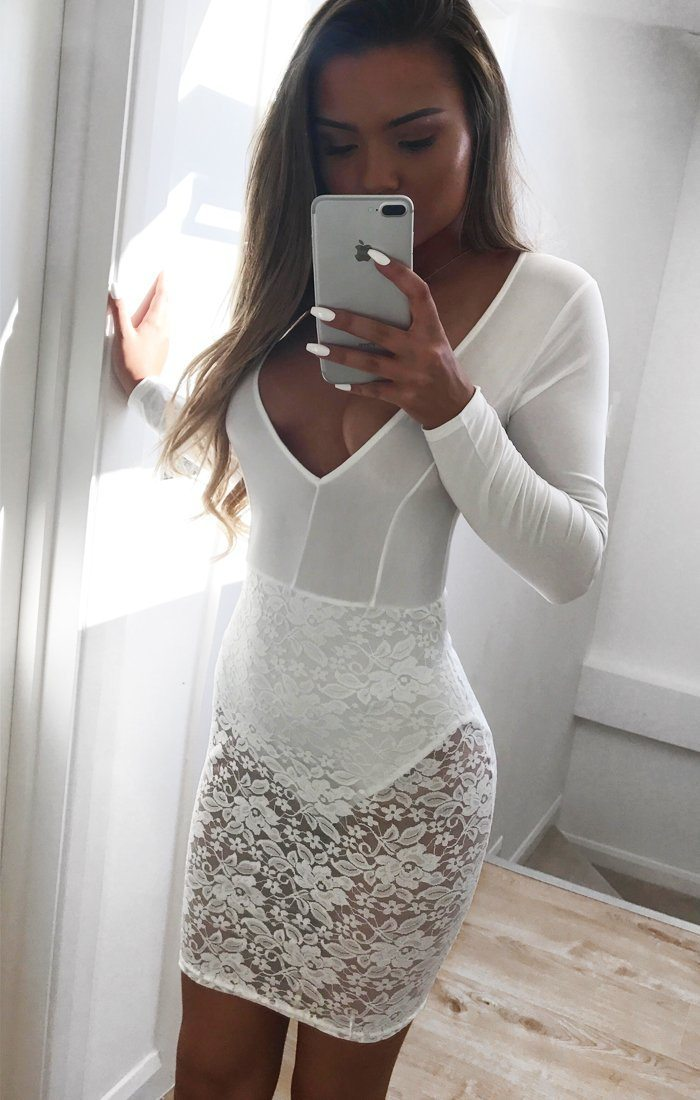 Danielle Off White Lace Detail Bodycon Mini Dress