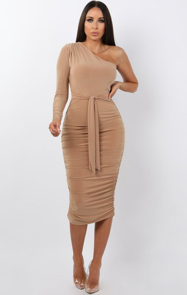 Beige-One-Shoulder-Ruched-Slinky-Midi-Dress-Savannah