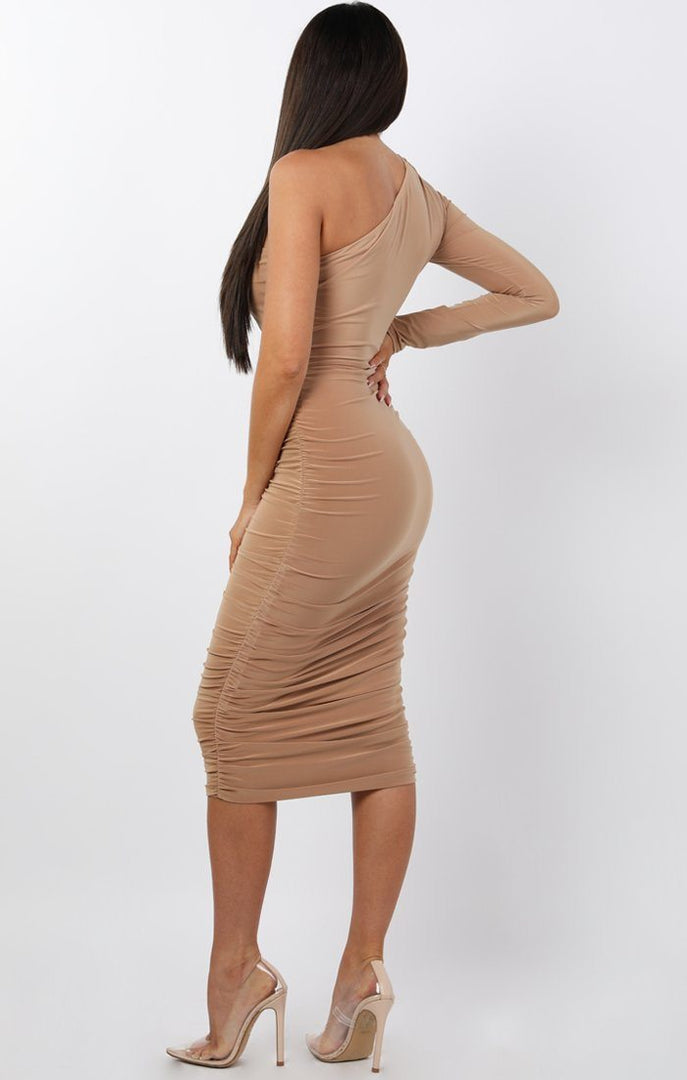 Beige-One-Shoulder-Ruched-Slinky-Midi-Dress