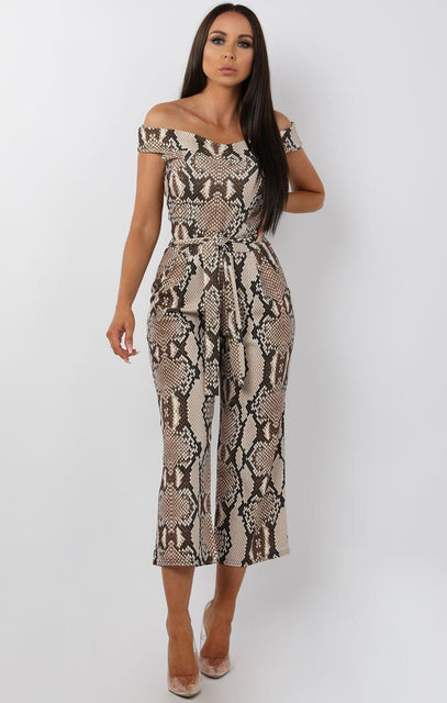 Beige Animal Snake Belted Bardot Jumpsuit - Nancy