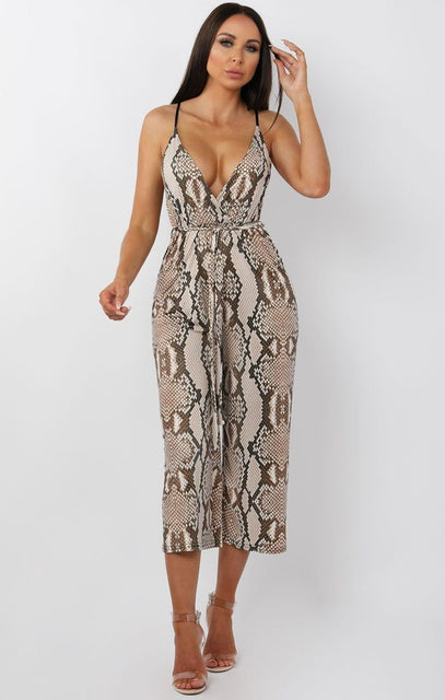 Beige Animal Snake Print Belted Jumpsuit - Harlow
