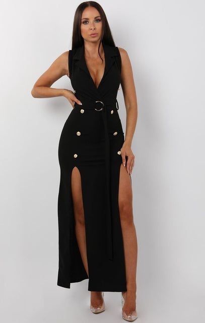 Black Belted Button Split Leg Maxi Dress - Marisha