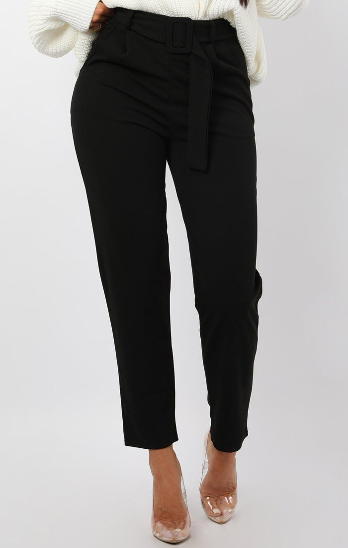 Black Belted Tapered Cigarette Trousers - Molly