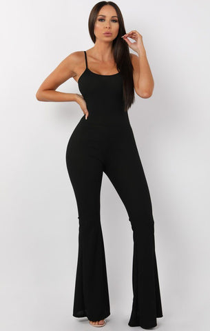 Black Ribbed Jumpsuits