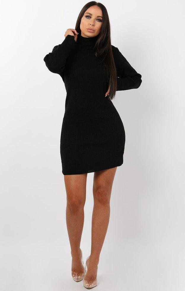 Black-High-Neck-Bodycon-Jumper-Dress-Esmelia