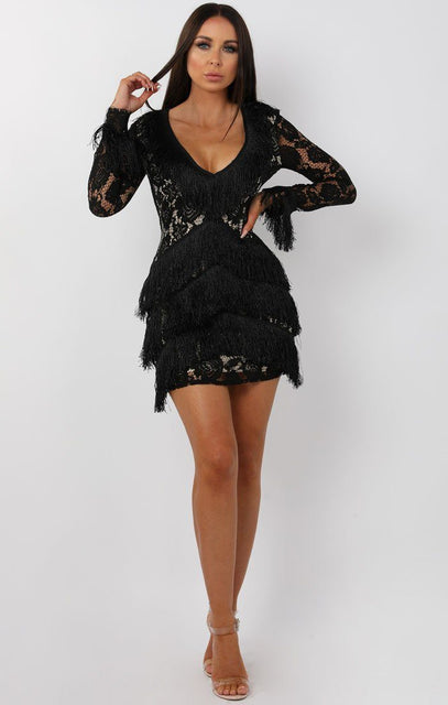 Black Lace Sleeve Tassel Bodycon Mini Dress - Luella
