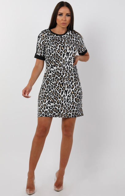 Black Animal Leopard Print Oversized T-Shirt Dress - Karris