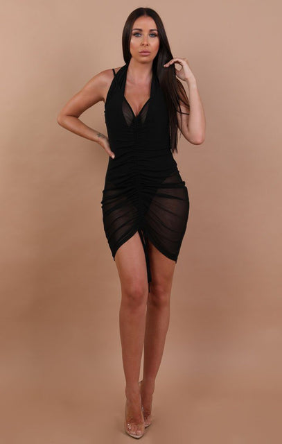 Black Ruched Front Mesh Mini Dress - Alexandria