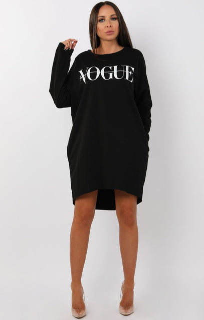 Black Vogue Oversized Jumper Dress - Galina